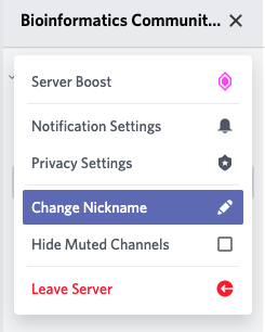 Discord menu showing Nickname menu item